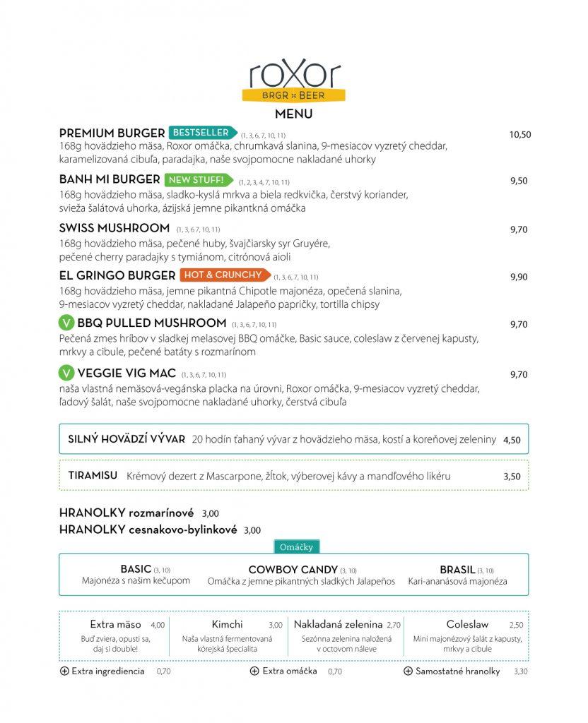 Roxor menu